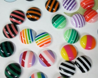 25 cute 10mm round striped cabochons,  mixed color cabs #1158