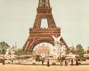 Vintage image of the Eiffel Tower, Paris, France digital download