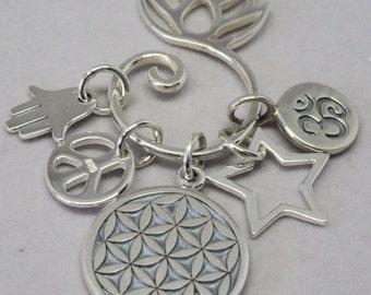 Flower of Life  Necklace, Hamsa Hand Charm, Peace Symbol, Star Charm, Lotus Charm Holder, Ohm Symbol, Makes Personalized Gift, Gift for Yogi