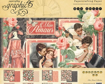 CLEARANCE! Graphic 45 Mon Amour 12x12 Paper Pad, SC007559