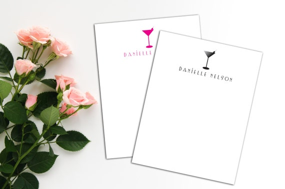 Cocktail Personalized Notecards, Personal Name Cards, Set of 10 Notes, Custom Note Cards,