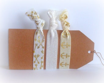 Hair Tie Set, Hair Elastics, White, Ivory, Gold, Anchors & Arrows, White Hair Ties, Ivory Hair Ties, Gold Hair Ties, Wedding Hair Elastics