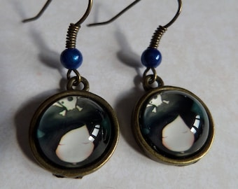 Small pirate Hat Lyly bronze antique blue pearl earrings