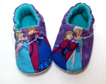 Disney Frozen, Anna and Elsa baby shoes,Purple Disney Baby Booties,Toddler Slippers, Disney Character,