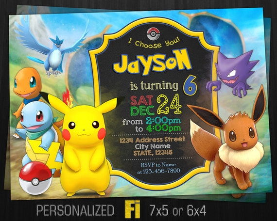 pokemon invitation pokemon birthday party eevee invitation