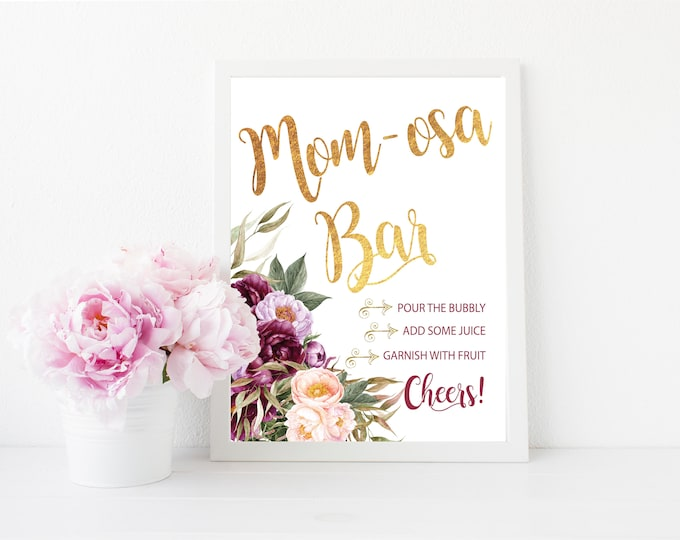 "Mimosa Bar Sign 8x10"" // Momosa Bar // Mom-mosa // Printed //Mimosas // Floral // Burgundy // Purple // Made to Match our CARMEL COLLECTION"