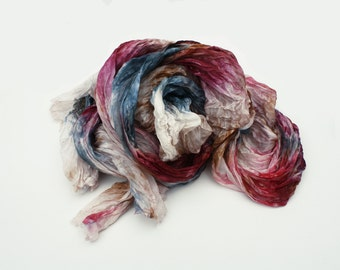 burgundy  silk scarf - Berrylicious  -  blue, off white, ecru, vine, burgundy, brown silk scarf.