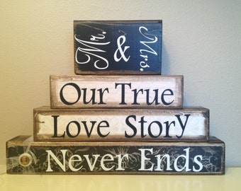 Wedding gift personalized wooden blocks mr and mrs our true love story never ends wedding marriage reception anniversary bride groom black