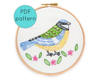 Blue Tit Bird Hand Embroidery Pattern, PDF Download