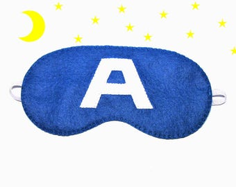 Sleep mask Captain America felt blue Pajamas Spa night sleep party favors soft eye sleeping accessory - Gift for girl kids boy him
