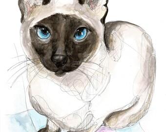 Siamese cat-ORIGINAL watercolor painting, unique, handmade cat blade