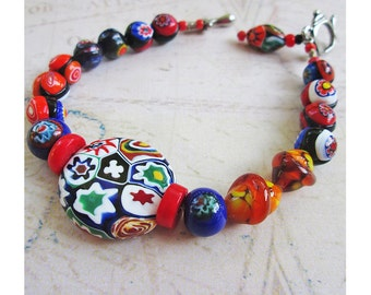 Glass Millefiori Beads Bracelet, Quilting Bee, Teapot and Spoon Clasp, Red Yellow Orange Green and Blue Glass, Millefiori Flowers 6 1/2""