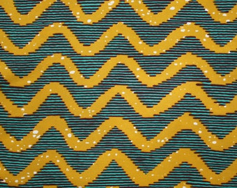 Teal and Mustard Ankara fabric, 6 yards, 5.5 metres, Classic African Print, Wave Print, African fabric, African Wax print, Sewing Fabric