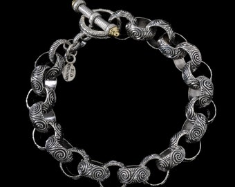 Scroll Toggle Bracelet, Engraved Collection      2201SG