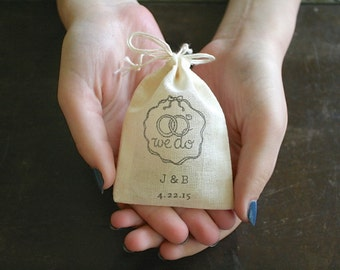 Hand stamped wedding ring bag, personalized ring bag, ring bearer, cotton ring bag, ring warming, We Do, initials and date, cloth ring pouch