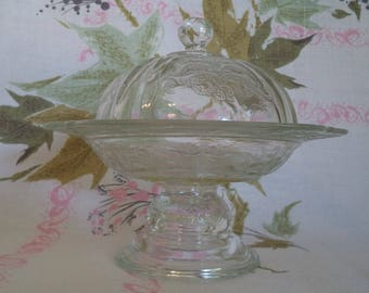 Indiana Glass Recollection Pattern, Round Covered Butter Dish with Lid, Recollection Yellow Indiana Glass Butter