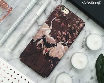 Cranes iPhone Case iPhone 8 Case iPhone 8 Plus Case iPhone 7 Case iPhone 7 Plus Case iPhone 6S Case iPhone 6S Plus Case Matte Birds Floral