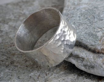 Silver band ring 10mm hammered sterling silver hammered ring handmade choose your size custom made to order 925