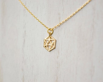 Geometric Icosahedron Dainty Necklace, Gold or Silver