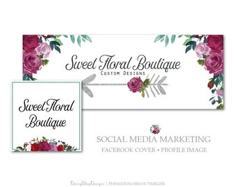 Facebook Cover,Profile Image,Social Media Marketing-Floral,Boho,Arrow,Roses-Burgundy,Jade,White-Facebook Storefront