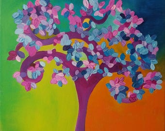 Tree of life painting, whimsical painting, tree painting