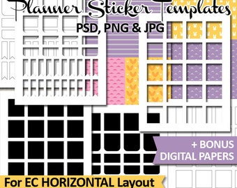 Erin Condren Horizontal Layout Templates planner stickers, EC Life Planner DIY sticker template, full box, commercial use