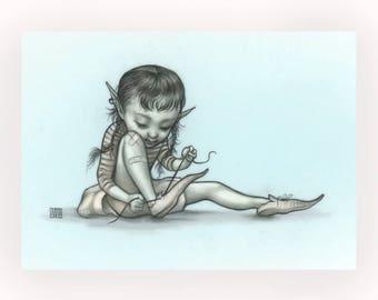 Lindy Ties - Mab's Drawlloween Club 5 x 7 Mini Art Print by Mab Graves - Goblin
