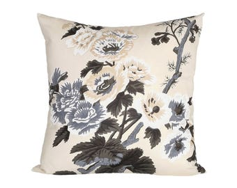 Pyne Hollyhock Charcoal designer pillow covers - Made to Order - Schumacher