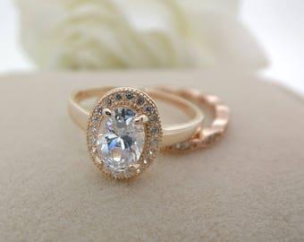 On Sale- Vintage Inspired Oval Moissanite Engagement ring set, Diamond alternative ring, Bridal set