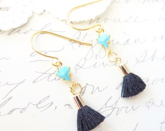 Turquoise Tassel Drop Earrings - Turquoise Tassel Dangle Earrings - Geometric Triangle Turquoise Earrings - Satin Cotton Tassel Earrings
