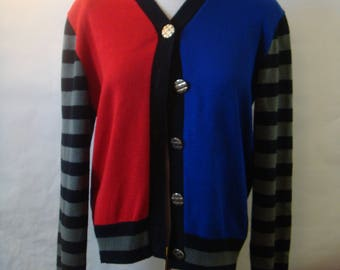 Vintage 90s Ami Knits Size 8 Color Block Cardigan Sweater Stripe Sleeves Red Blue Gray Black USA Bust 44