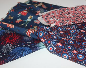 Flag day, 4th of July, american, cotton scraps,  navy blue red white