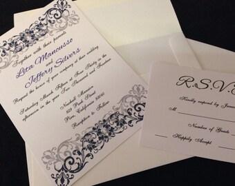 Navy Blue Wedding Invitation -- Antique Design Wedding Invitation -- Wedding Invitation