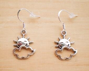 Weather Earrings, Sun And Cloud Earrings, Charm Earrings, Jewelry Findings