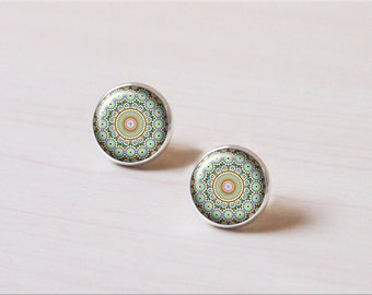 Hippie, Retro mandala Tattoo, Indian, Minority Totem, Tribe, vintage silver earring stud, earring clip, wedding gift