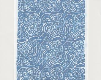 Sea Print A5 // Ocean Waves Blue Lino print Linocut Printmaking // Scandinavian Modern