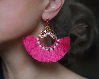 Pink Tassel Earrings, Exotic Tassel Earrings, Tropical Earrings, Ethnic Earrings, Tassel Fringed Ring Earrings, Pink Brazilian Earrings