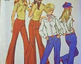 Vintage Simplicity pattern Miss size 12 Hip Hugger Pants 1971