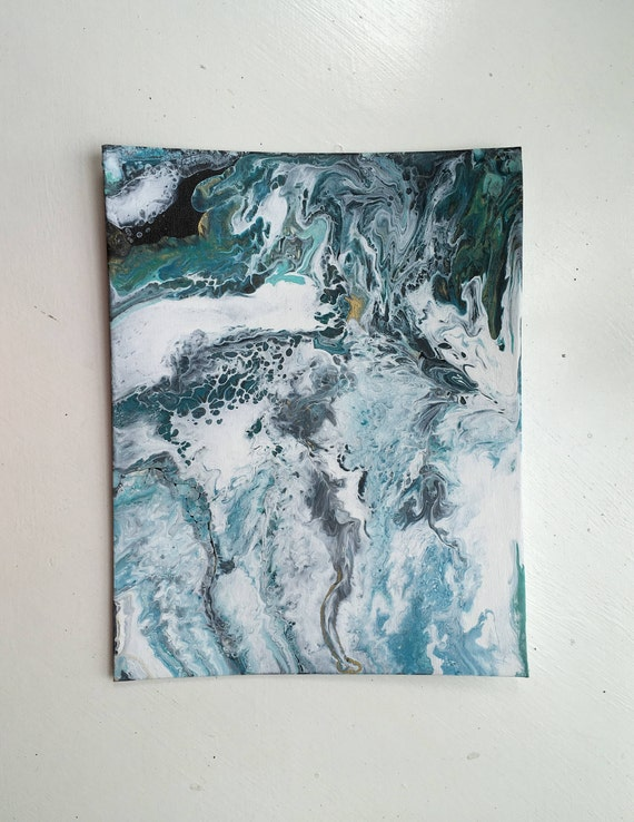 Fluid acrylic abstract wall painting blue black and white
