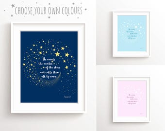 Christian Baby Gift, He Counts the Stars and Moon Nursery, Psalm 147, Bible Quote Art for Nursery, Bible Verse Poster for Girls Room Prints