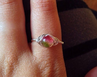 Watermelon Tourmaline Emulation (Chalcedony) Ring - Any Ring Size - Wirewrapped with Sustainable Silver - Ecofriendly, Magic