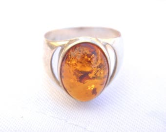 925 sterling silver ring with amber