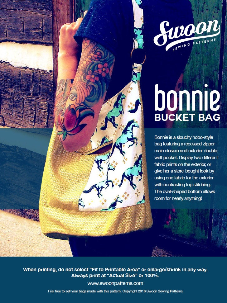 Swoon Patterns: Bonnie Bucket Bag PDF Bag Purse Bucket Bag