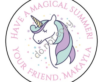 Personalized Unicorn Have a Magical Summer End of School Year Stickers and Labels // Printed & Shipped or DIY Printable Files