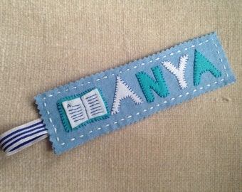 Personalised felt bookmark (up to 4 letters)