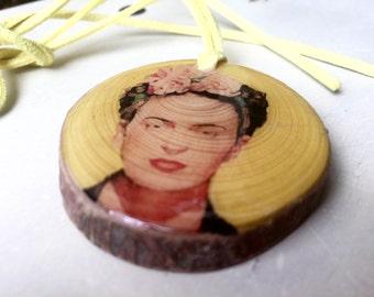 Frida Kahlo Wood Pendant Necklace Gift for Art Teacher or Frida Kahlo Fan Ecological Jewelry