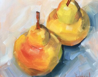 Two Pears, Original Oil Painting by Bridget Hobson, 6x6 inch, free domestic shipping