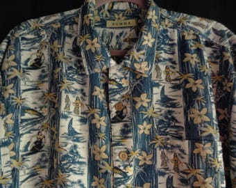 Vintage Hawaiian style shirt blue trees and people XL