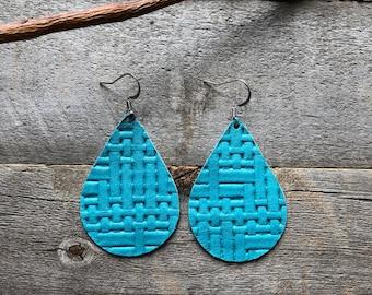 Turquoise Basketweave Leather Earrings