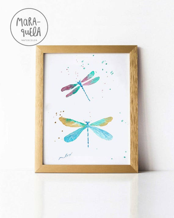 Dragonfly Original Watercolor - Art decor, handmade, watercolor, painting, butterfly - ONLY Original